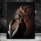 QWESFX Modern Art African Woman Painting Kids Painting Set Painting by Numbers Canvas Art Prints Lienzo estirado para Pintar (Imprimir sin Marco) A3 60x90CM