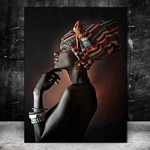QWESFX Modern Art African Woman Painting Kids Painting Set Painting by Numbers Canvas Art Prints Lienzo estirado para Pintar (Imprimir sin Marco) A2 40x80CM