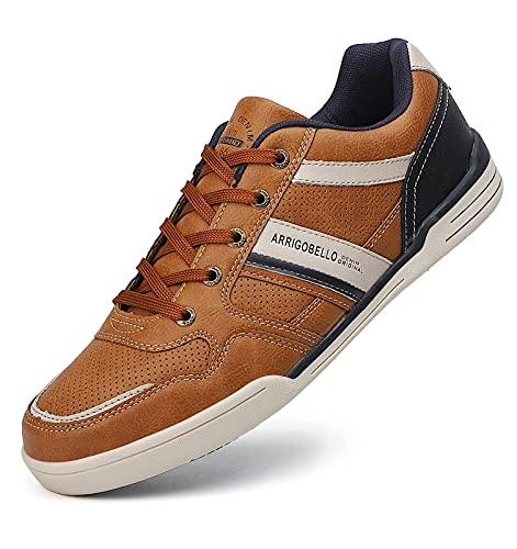 TARELO Zapatillas Hombre Vestir Zapatos Casual de Cordones Sneaker Deportivo Respirable Calzado Al Aire Libre Tamaño 41-46(Amarillo, Numeric_44)