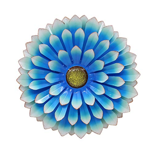 LIMEIDE Large Metal Flower Outdoor Wall Decor Garden Hanging Decoration Iron Floral Wall Art for Balcony Patio Porch Bedroom Bedroom Living Room Office 14.2 inches (Blue)