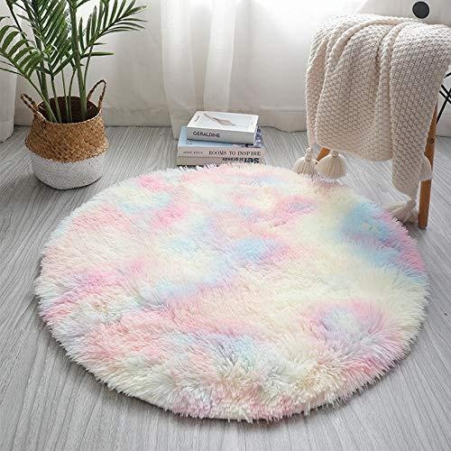 Fnho Soft Gradient Tie-Dye Fur Rug,Nursery Rug Home Room Plush,Living room dyed carpet, bedroom bedside mat-A_160cm
