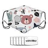 Fond avec des animaux mignons, six filtres, revêtement facial à la mode lavable réutilisable