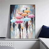 JHGJHK Mujer sosteniendo Paraguas en día lluvioso Pintura al óleo impresión decoración de la Sala de Estar decoración de Arte de Pared Abstracta Imagen 1