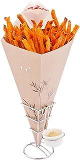 "Paper Food Cones, Cardboard Food Cones with Dip Pocket - Bamboo Print - 15.5"" Food Cone - Conetek - 100ct Box - Restaurant..."