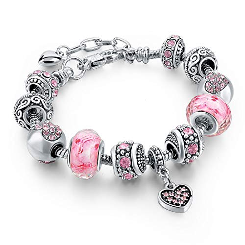 Long Way Silver Tone Chain Pink Crystal Love Heart Bead...