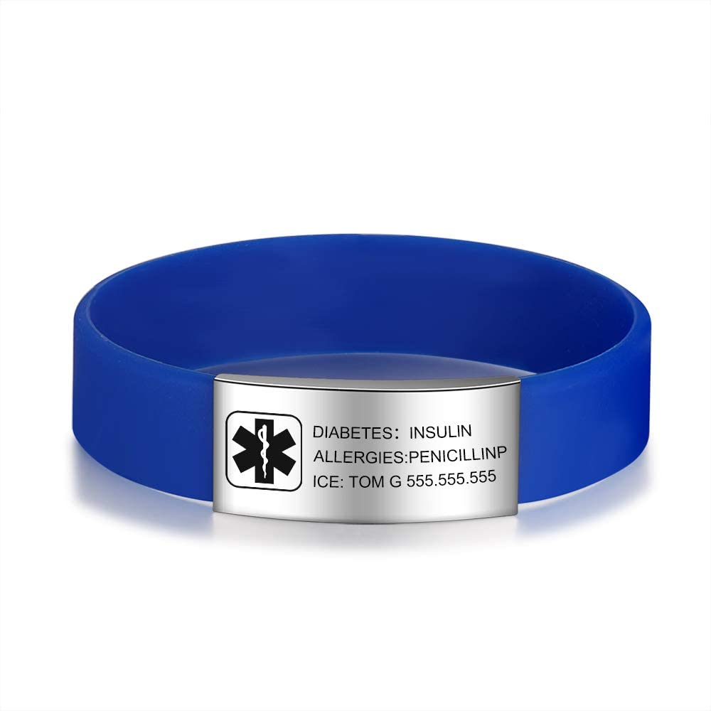 ROSI Customized Silicone Medical Max 50% OFF Alert Max 69% OFF for Bracelets Women Adjus
