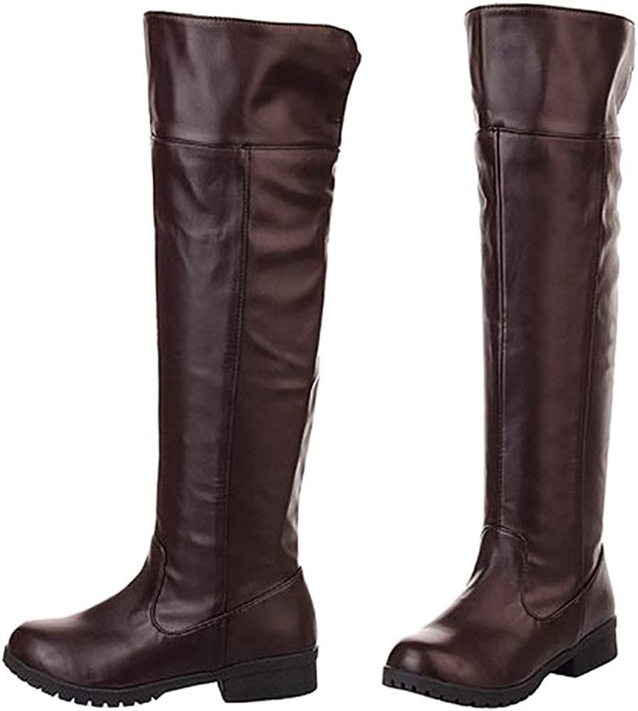 Ace Cos-play Men Knee-high Boot Riding Boots (Men 9 Brown)
