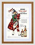 Wee Blue Coo Vintage Ad Whisky Alcohol Dewar's White Scotch Tartan Lámina Enmarcada 12 x 16 Pulgadas