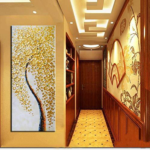 NOVELOVE Cuadro De Arte De Pared Resumen Modernoo Gold Money Tree Pósters Print Canvas Pintura Sin Marco 50x150cm Sin Marco