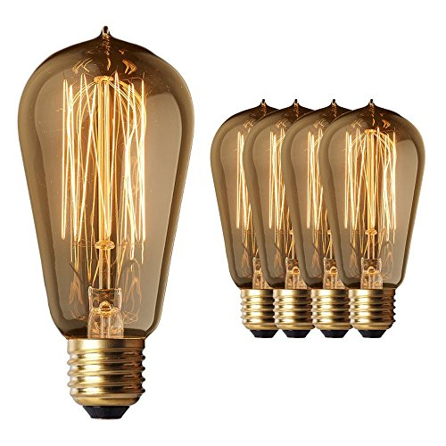 Vintage Edison Light Bulbs (4 Pack) - 60W Old Fashion Squirrel Cage Filament - 230 Lumens - ST58 Teardrop Incandescent - Warm Dimmable Antique Amber Lighting - Warranty Included