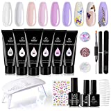 Beetles Poly Nail Extension Gel Kit, 6 Colors Clear White Nail Builder Gel Pink Nude Butterfly Poly Nail Enhancement French Manicure Kit Trial Nail Art Design Easy DIY Salon Nail At Home