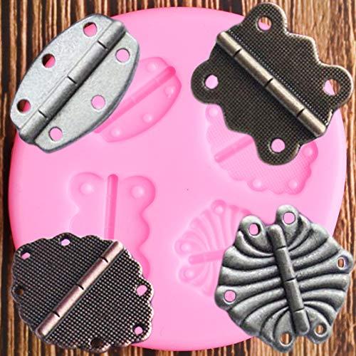 MENGLING 3D Vintage Industrial Steampunk Hinge Silicone Fondant Moldes Fondant DIY Party Pastel Decoración Herramientas Polímero Clay Candy Chocolate Moldes