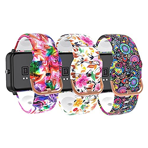 3-Pack Bands Compatible with YAMAY SW020 SW021 SW023 ID205L ID205U ID205S Smart Watch Band, Quick Release Soft Silicone Pattern Printed Straps Replacement Band for Woman&Men(3 Colors A)