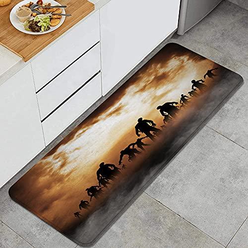 WENLISAN Kitchen Rugs,Zombies Dead Men Walking Body in The Doom Mist at Night Sky Haunted, Anti-Fatigue Floor Mat Non-Slip Microfiber Standing Mat 47.2 x 17.7 Inch