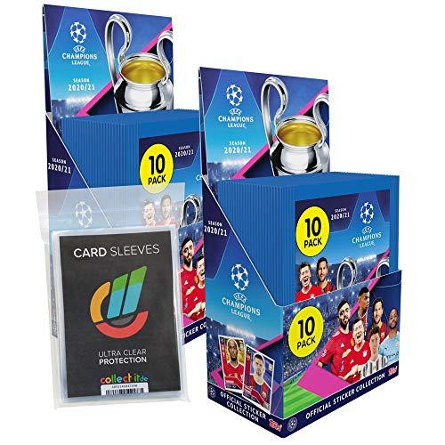 Topps - Champions League 2020/21 Sticker - 2 Displays (60 Tüten) + 40 Collect-it Hüllen Sleeves