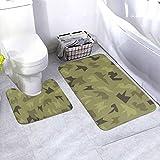 N/B Camouflage Seamless Military Pattern Bad antideslizante Alfombrilla de baño Alfombrilla antideslizante almohadilla para decoración interior Set 2 unidades personalizado