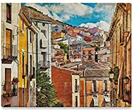 JTMOVING Wall Art Painting Colorful Spain Streets Buildings Cuenca TownPrints On Canvas The Picture Landscape Pictures Oil for Home Modern Decoration Print Decor for Living Room