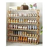 Yyqx Zapatera Instalación de Zapatos de bambú de Seis Capas Free Simple Plegable de Madera sólido Zapato Zapato Zapatilla Estante (bambú Natural) Zapatero