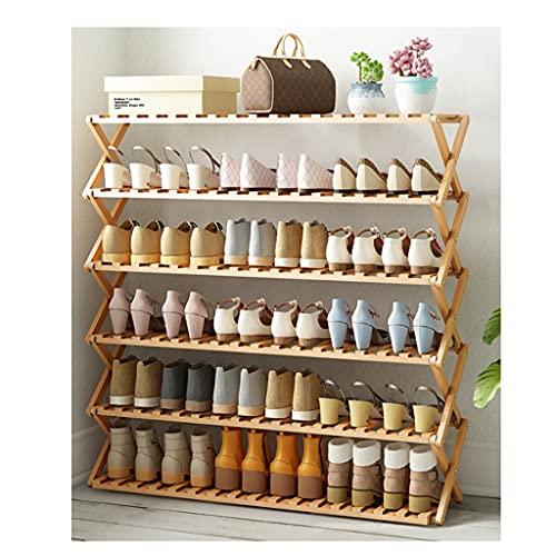 WINON Zapatero Instalación de Zapatos de bambú de Seis Capas Free Simple Plegable de Madera sólido Zapato Zapato Zapatilla Estante (bambú Natural) Zapateros
