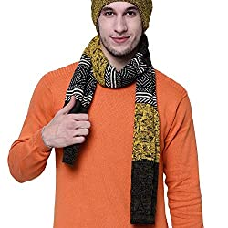 VR Designers Stylish Unisex Winter Pattern Yellow and Black Woolen Muffler