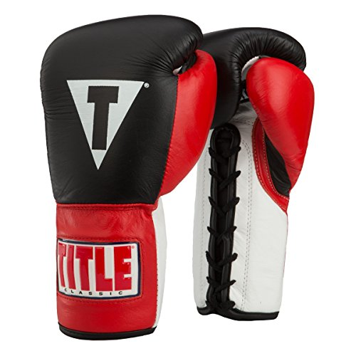 Title Classic Pro Fight Gloves, Black/Red, 12 oz