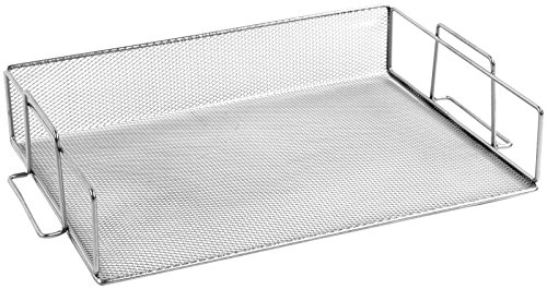 Design Ideas Mesh Stainless Steel Stackable Legal Size Letter Paper Tray Desktop Organizer, Silver (1 Tray), Large, 13 1/2 x 9 3/4 x 2 3/4