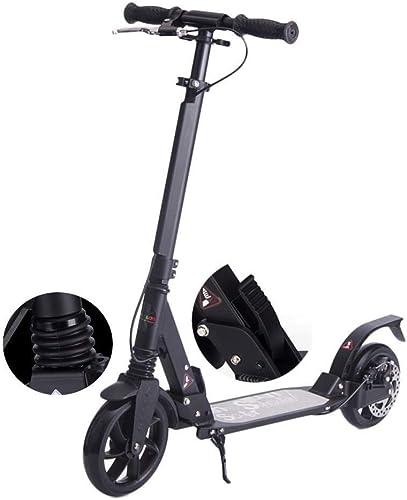 Scooter plegable para adultos Scooter de dos ruedas plegable Campus Viajes Herramientas Aluminio Rueda grande Trabajo de ciudad de dos ruedas Versión de scooter Frenos de disco Descarga trasera en neg