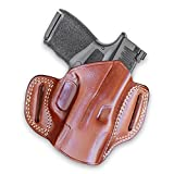 Premium The Ultimate Leather OWB Pancake Holster Open Top fits,Springfield Hellcat 9mm Micro Compact 3'' BBL, Right Hand Draw, Brown Color #1524#