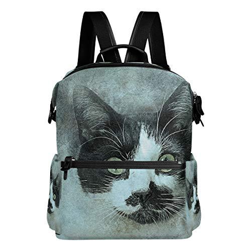 MALPLENA - Zaino da trekking per la scuola, con testa di gatto animale, ideale per la pittura e la scuola, zaino