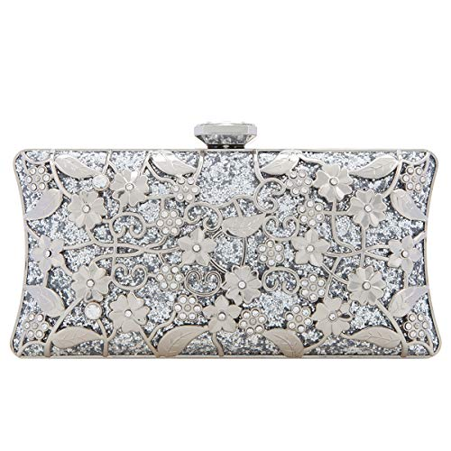 Fawziya Glitter Formal Floral Purses For Women Evening Clutch Bag Silver Size: 9.5(L)x3.9(W)x6(H)in