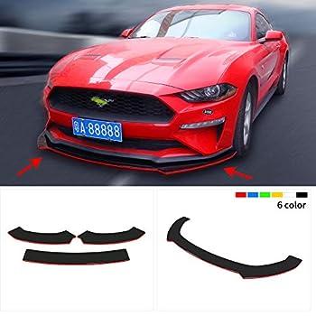 Universal 3 Pcs Front Bumper Lip Chin Spoiler ABS Front Bumper Lip Sopiler Red 7090#