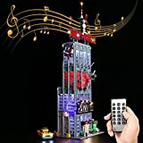 T-Club RC LED Light Kit for Lego 76178 Daily Bugle, Lighting Kit Compatible with Lego 76178 ( Not Include Lego Set ) (RC with Sound)