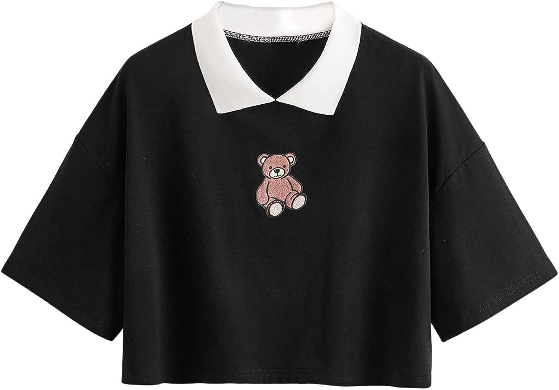 SweatyRocks Women's Collar Short Sleeve Crop Top Cute Graphic Print T-Shirt