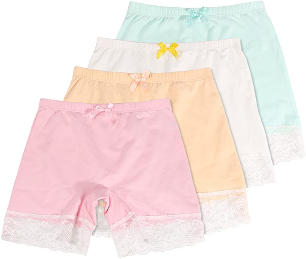 Girls Lace Underwear Briefs, Dance, Bike Shorts,4 Packs Safety Legging Panties-for Sports or Under Skirts