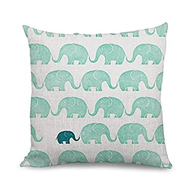 wendan Cute Pillow Covers Elephant Pattern Faux Linen Accent Pillows Decorative Cushion Covers 18 X 18