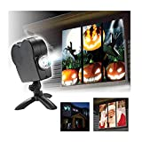 Halloween Christmas Holographic Projector Window Projector Led Holographic Projection Lamp, 12 Film Festivals, Used for Christmas and Halloween Outdoor Garden Decoration Family Outdoor Party