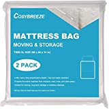 [2-Pack] Mattress Bag for Moving, Mattress Storage Bag, 4 Mil Twin XL Size, Super Thick- Heavy Duty, Protecting Mattress Long-Term Storage and Disposal - 54 x 96 Inch