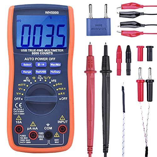 Kuman Multimetro Digitale, Vero Multimetro RMS 6000 Conteggi Ranging Manuale e Automatico, Misura Voltaggio, Corrente, Resistenza, Continuità, Testa Diodi, Temperatura WH5000A