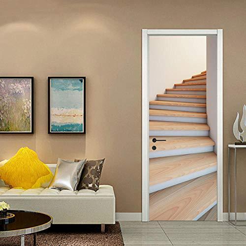 Etiqueta de puerta de escalera 3D etiqueta de puerta decorativa autoadhesiva impermeable decoración de hogar extraíble