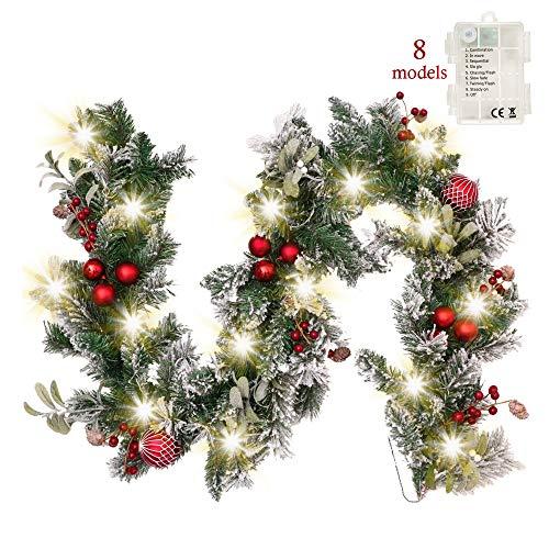 Valery Madelyn 6ft/183cm Pre-Lit Guirnalda de Navidad, Rojo Blanco 20 Luces LED 8 Modos, Base de Ratánl, Adornos...