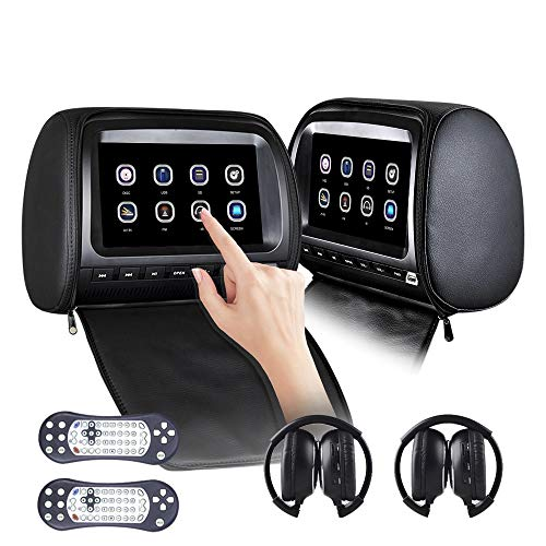 Car headrest DVD Player HD Multimedia 9 Inch Touch Screen 2pcs Video car Game Interface USB/SD/Infrared/FM/Transmitter/Remote Control / 2 Infrared Headset/headrest Installation Kit Black
