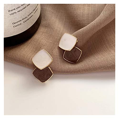 MURUI EH S925 plata aguja temperamento simple costura de color tuerca dulce niña pequeña oreja pequeña fila oído oído clips yc715 (color café marrón)
