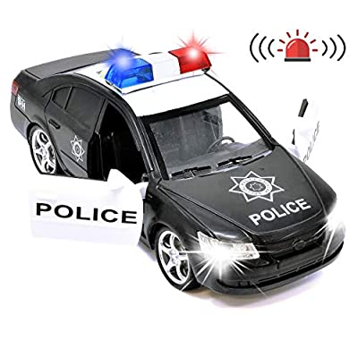 Number 1 in Gadgets Friction Powered Police Car Toy Rescue Vehicle with Lights and Siren Sounds for Boys Toddlers and Kids, Pull Back Diecast Emergency Transport Vehicle Car from Number 1 in Gadgets