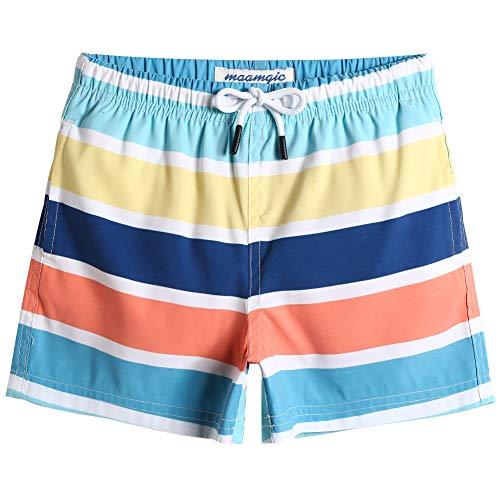 MaaMgic Badehose Jungen Sommer Badeshorts Schnelltrocknend Boardshorts mit Netzfutter Taschen und Verstellbarem Tunnelzug Urlaub Shorts Blau Gelb Rot