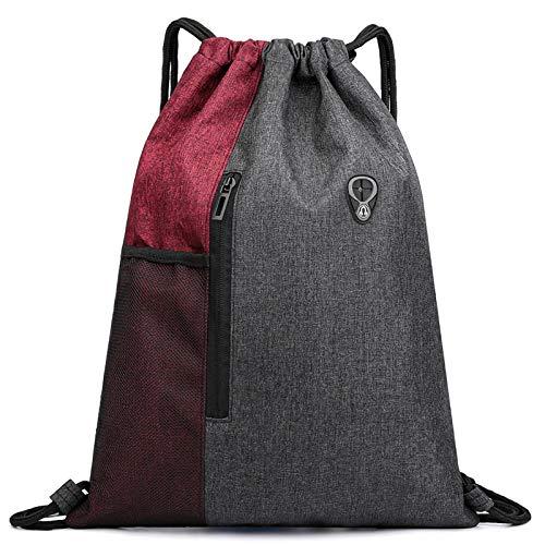 Ruberg - Bolsa de deporte resistente al agua para hombre y mujer, con cremallera, bolsillo interior, bolsillo exterior, bolsa de gimnasio,color rojo