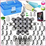 RFAQK-Russian piping tips set with storage box-54 Numbered easy to use icing nozzles (28 Russian+24 Icing+1 Ball tip+2 leaf tips)-Pattern chart, EBook User Guide and Cake decorating tools kit