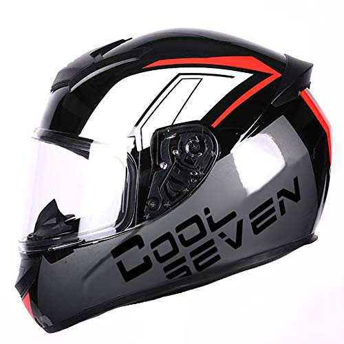 Dajie Casco de motocicleta todoterreno para motocicleta, casco de máscara abierta, visera antivaho, certificación D.O.T, negro rojo, XXXL