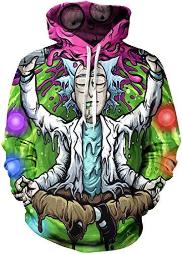 Chaos World Felpe con Cappuccio Uomo 3D Funny Cartoon Felpa con Stampa Hoodie Unisex Pullover Sweatshirt (Sedersi,XS(Tag S))