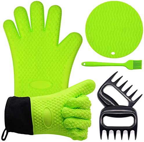 Warmurlife Grilling Accessories Large BBQ Gloves Silicone Meat Claws Grill Brush Hot Pads 4 product image
