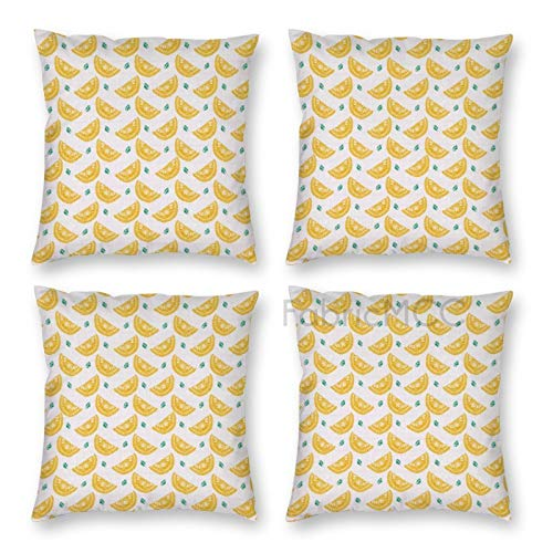JamirtyRoy1 Pillow Covers 18 x 18 Inch Set of 4, Lemon Hand-Drawn Style Illustration of Citrus Fruit Slices with Leaves, Jade Decorative Throw Pillow Case Cushion Cover for Sofa Couch Sofa Home Decor
